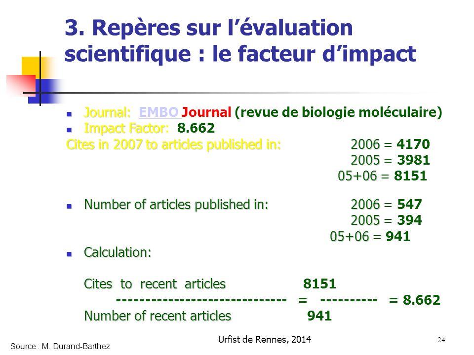 24 3. Repères sur l'évaluation scientifique : le facteur d'impact Journal: Journal: EMBO Journal (revue de biologie moléculaire)EMBO Impact Factor Imp