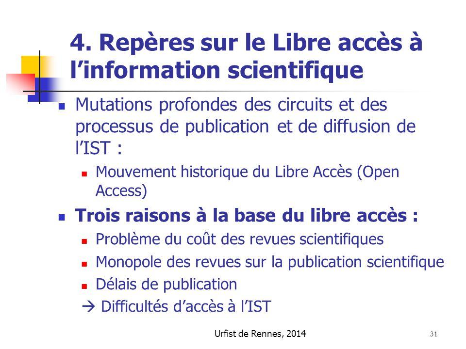 Urfist de Rennes, 2014 31 4. Repères sur le Libre accès à l'information scientifique Mutations profondes des circuits et des processus de publication