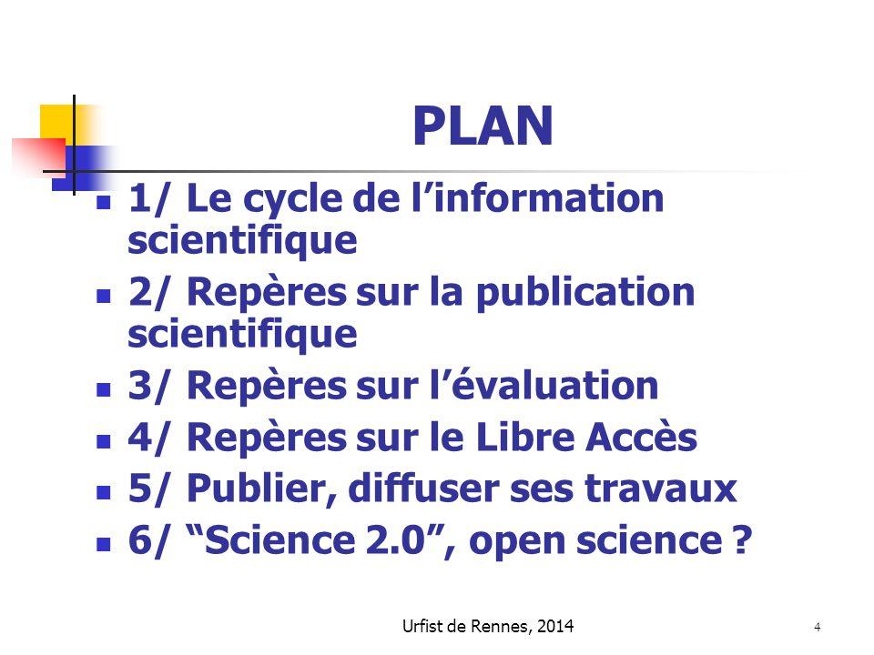 4 PLAN 1/ Le cycle de l'information scientifique 2/ Repères sur la publication scientifique 3/ Repères sur l'évaluation 4/ Repères sur le Libre Accès
