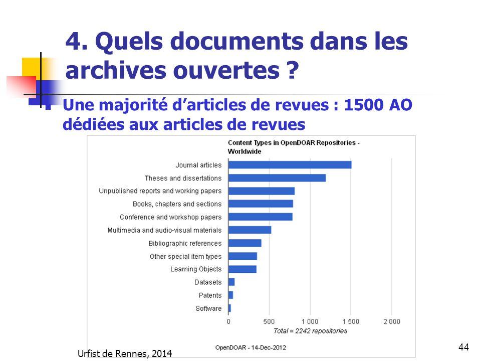 44 4. Quels documents dans les archives ouvertes ? Une majorité d'articles de revues : 1500 AO dédiées aux articles de revues Urfist de Rennes, 2014