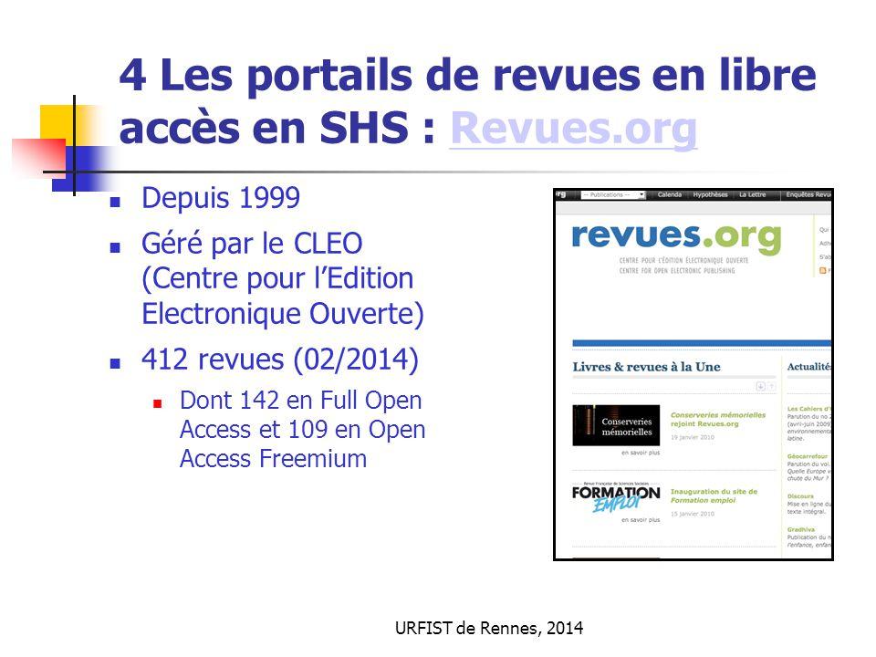 URFIST de Rennes, 2014 4 Les portails de revues en libre accès en SHS : Revues.orgRevues.org Depuis 1999 Géré par le CLEO (Centre pour l'Edition Elect