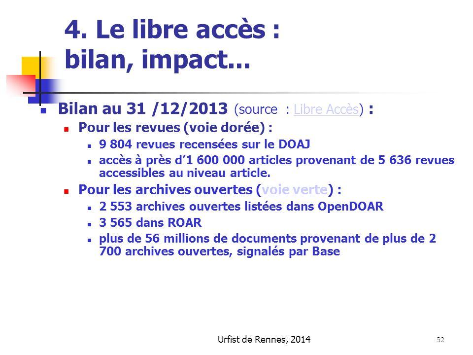 Urfist de Rennes, 2014 52 4. Le libre accès : bilan, impact... Bilan au 31 /12/2013 (source : Libre Accès) :Libre Accès Pour les revues (voie dorée) :