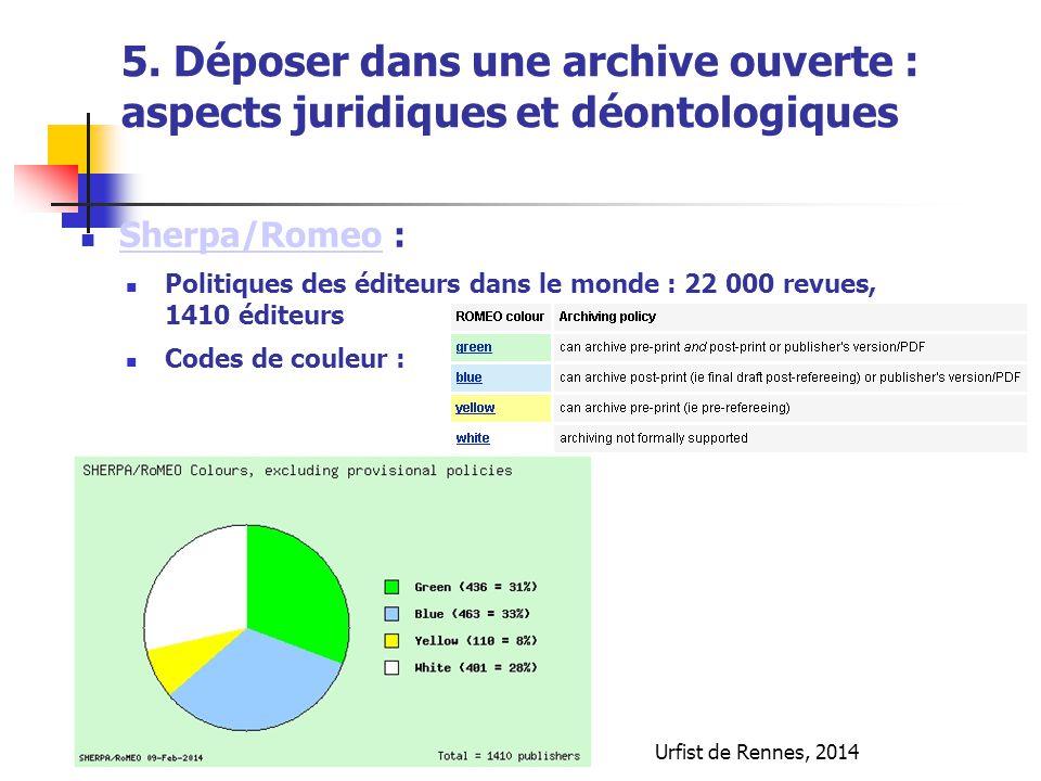 Sherpa/Romeo : Sherpa/Romeo Politiques des éditeurs dans le monde : 22 000 revues, 1410 éditeurs Codes de couleur : Urfist de Rennes, 2014 5. Déposer