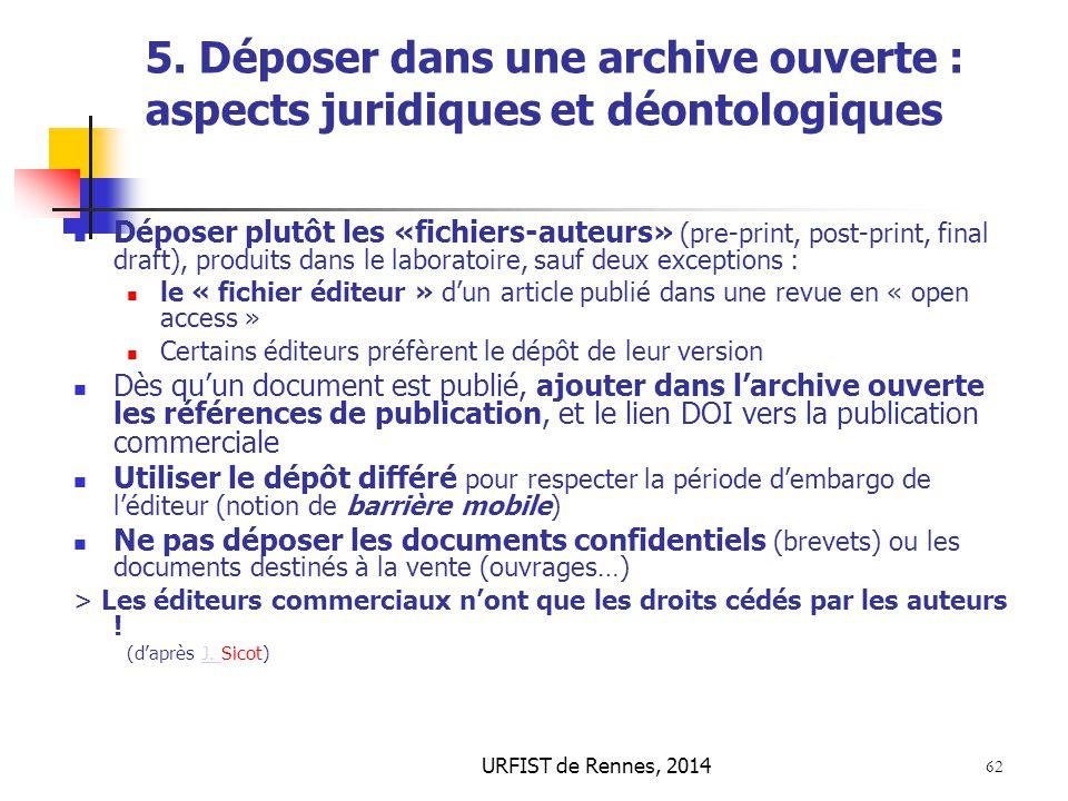 URFIST de Rennes, 2014 62 5. Déposer dans une archive ouverte : aspects juridiques et déontologiques Déposer plutôt les «fichiers-auteurs» (pre-print,