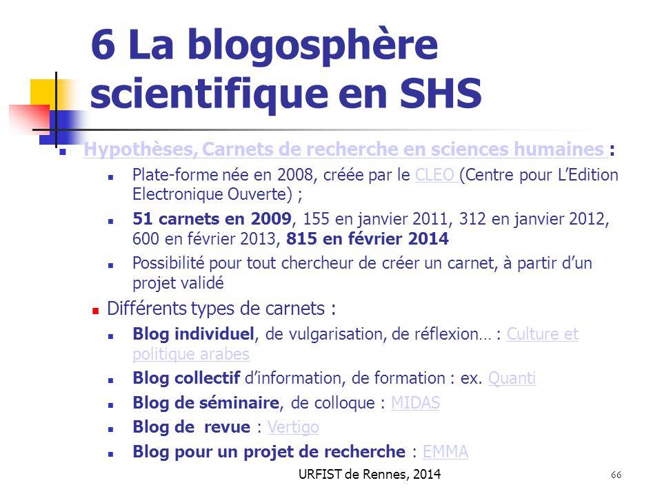 URFIST de Rennes, 2014 66 6 La blogosphère scientifique en SHS Hypothèses, Carnets de recherche en sciences humaines : Hypothèses, Carnets de recherch