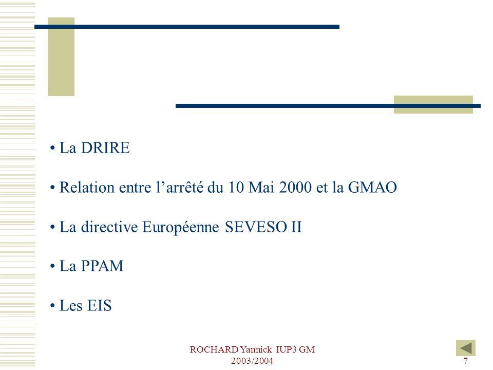 ROCHARD Yannick IUP3 GM 2003/20047 La DRIRE Relation entre l'arrêté du 10 Mai 2000 et la GMAO La directive Européenne SEVESO II La PPAM Les EIS