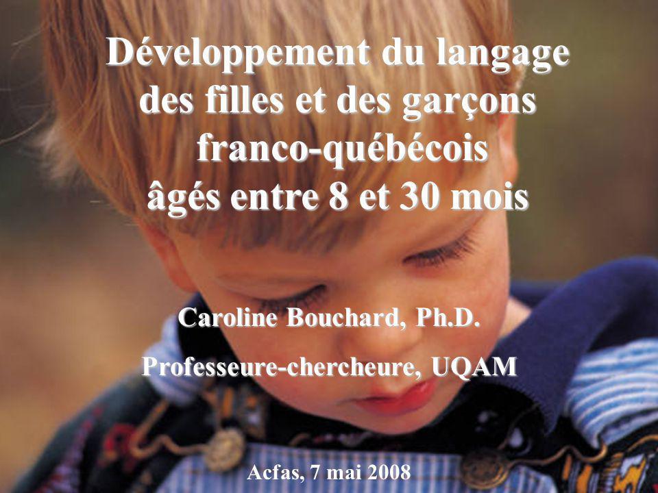 Page titre Participants –777 enfants (375 filles et 402 garçons) –Âge moyen = 19.9 mois ( ET = 6.5) Développement du langage des filles et des garçons franco-québécois âgés entre 8 et 30 mois franco-québécois âgés entre 8 et 30 mois Caroline Bouchard, Ph.D.