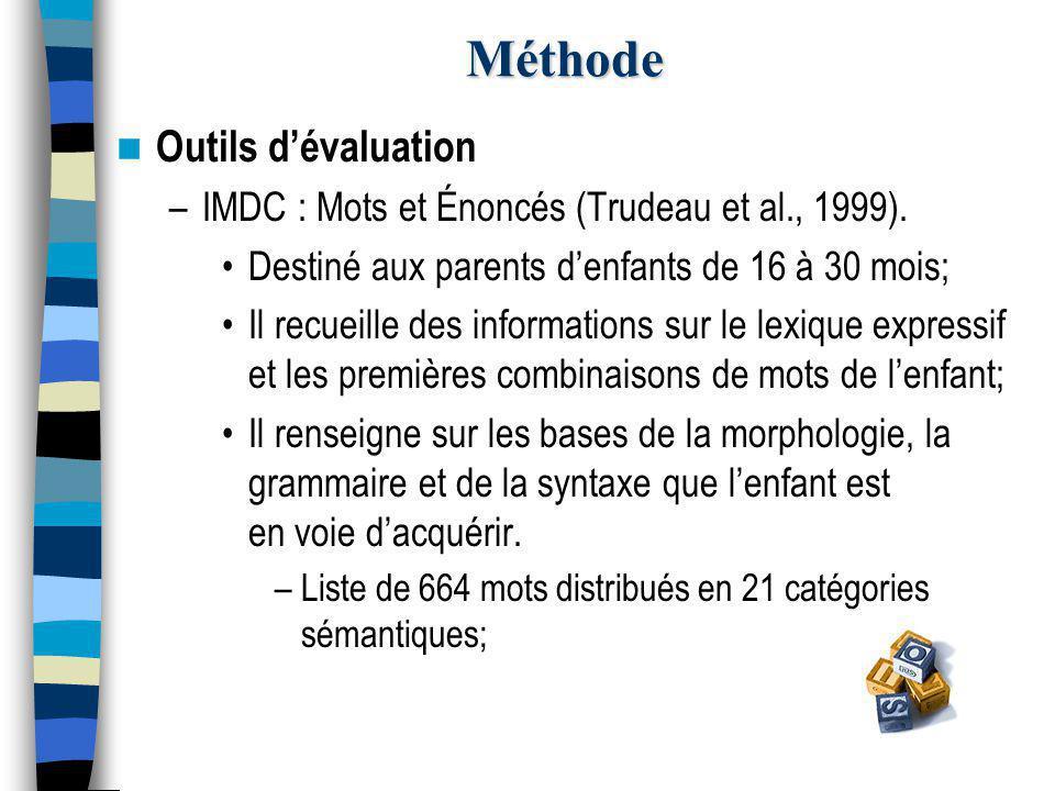 Méthode Outils d'évaluation –IMDC : Mots et Énoncés (Trudeau et al., 1999).