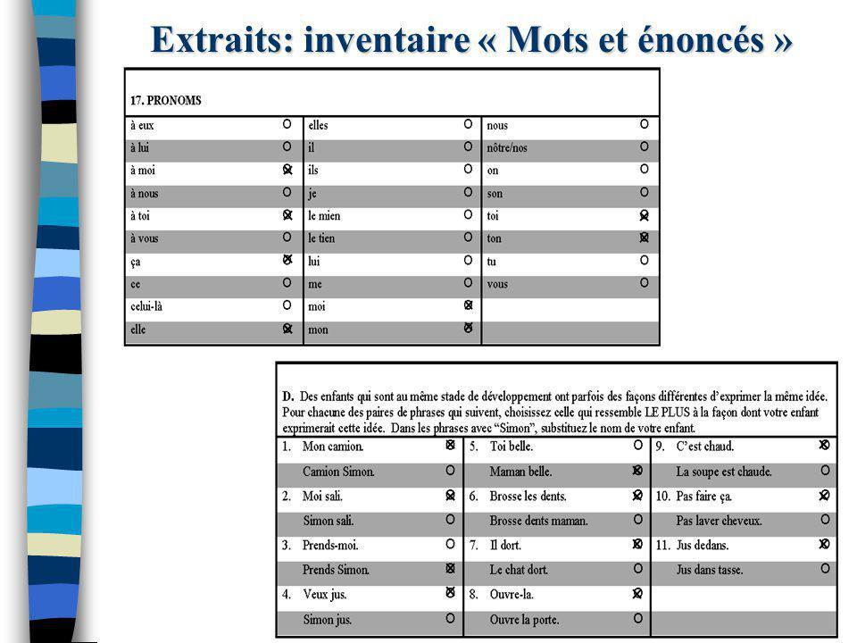 Extraits: inventaire « Mots et énoncés »