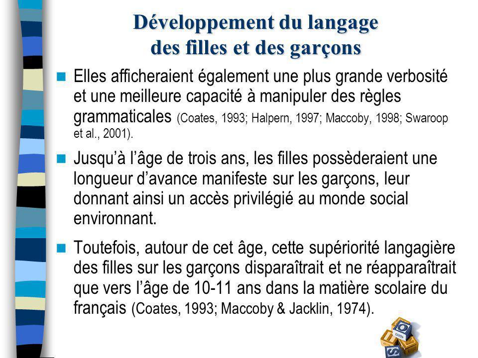 Développement du langage des filles et des garçons Ces différences garçons-filles ont surtout été documentées sur le plan quantitatif (p.ex., nombre de mots) et à partir de travaux en langue anglaise.
