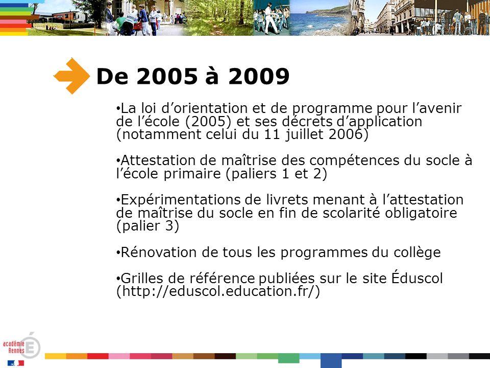 De 2005 à 2009 La loi d'orientation et de programme pour l'avenir de l'école (2005) et ses décrets d'application (notamment celui du 11 juillet 2006) Attestation de maîtrise des compétences du socle à l'école primaire (paliers 1 et 2) Expérimentations de livrets menant à l'attestation de maîtrise du socle en fin de scolarité obligatoire (palier 3) Rénovation de tous les programmes du collège Grilles de référence publiées sur le site Éduscol (http://eduscol.education.fr/)