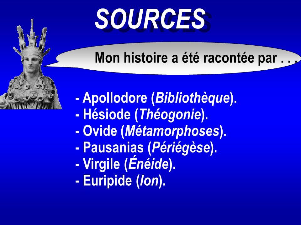 SOURCES Mon histoire a été racontée par... - Hésiode ( Théogonie ). - Apollodore ( Bibliothèque ). - Ovide ( Métamorphoses ). - Pausanias ( Périégèse