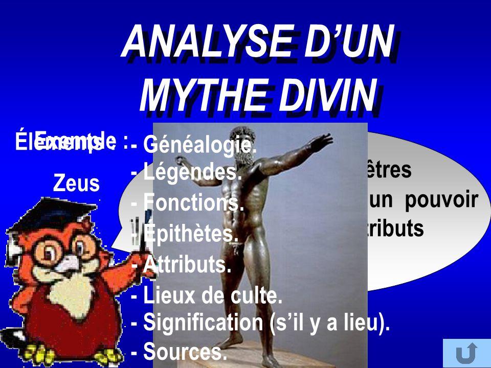 Les dieux sont des êtres supérieurs doués d'un pouvoir sur l'homme et d'attributs particuliers. ANALYSE D'UN MYTHE DIVIN Exemple : Zeus Éléments : - G