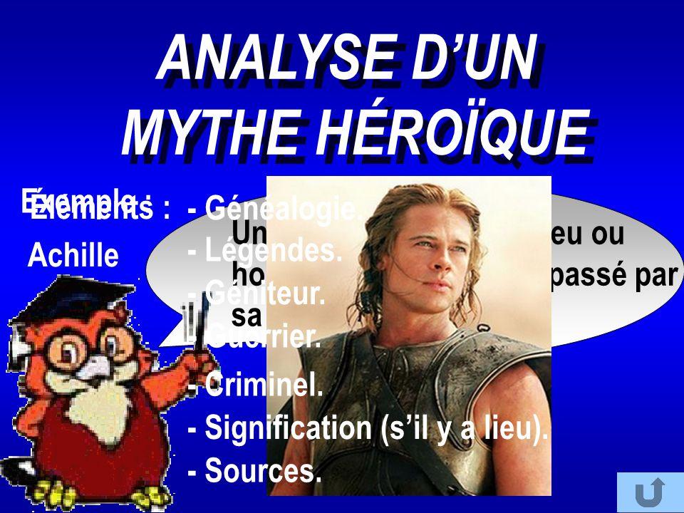 ANALYSE D'UN MYTHE HÉROÏQUE ANALYSE D'UN MYTHE HÉROÏQUE Un héros est un demi-dieu ou homme appartenant au passé par sa vie et ses exploits. Achille Ex