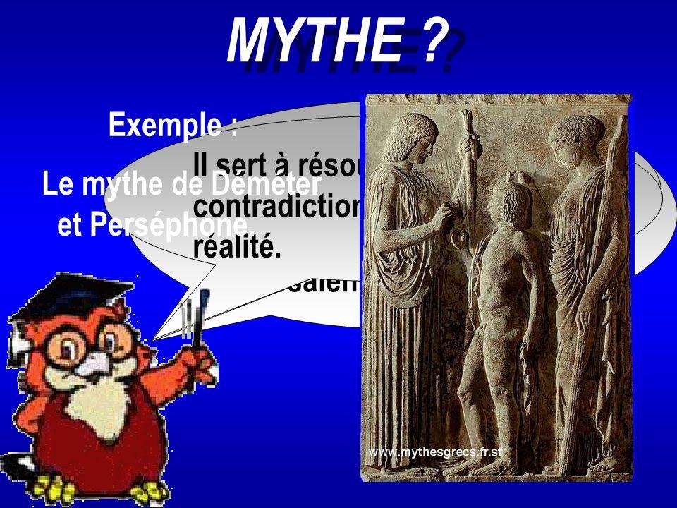 MYTHE ? Les mythes sont des ensembles de récits concernant les dieux et les héros auxquels les Grecs adressaient un culte. Il est produit par l'imagin
