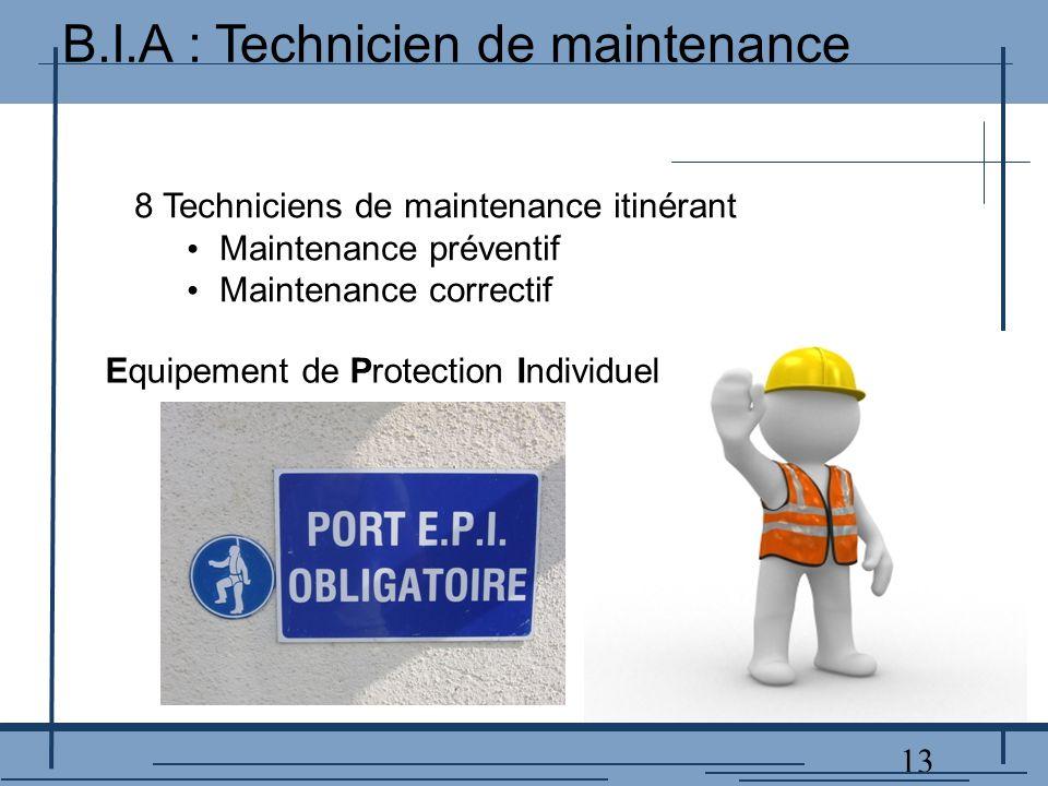 13 8 Techniciens de maintenance itinérant Maintenance préventif Maintenance correctif Equipement de Protection Individuel B.I.A : Technicien de maintenance