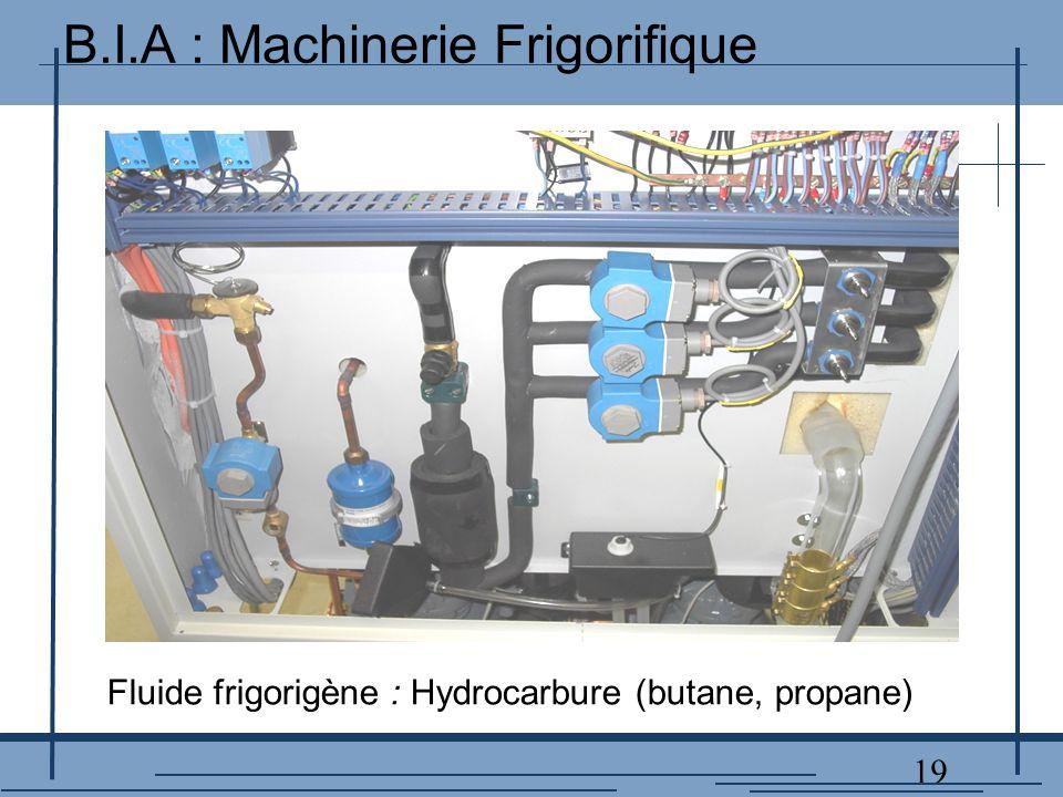19 Fluide frigorigène : Hydrocarbure (butane, propane) B.I.A : Machinerie Frigorifique