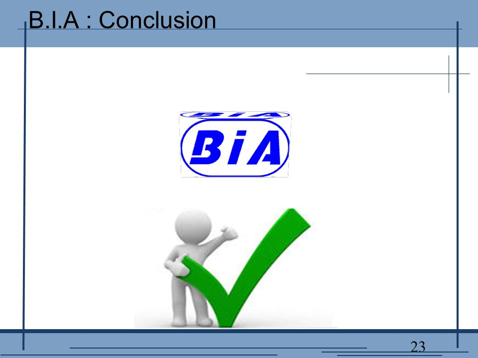 23 B.I.A : Conclusion
