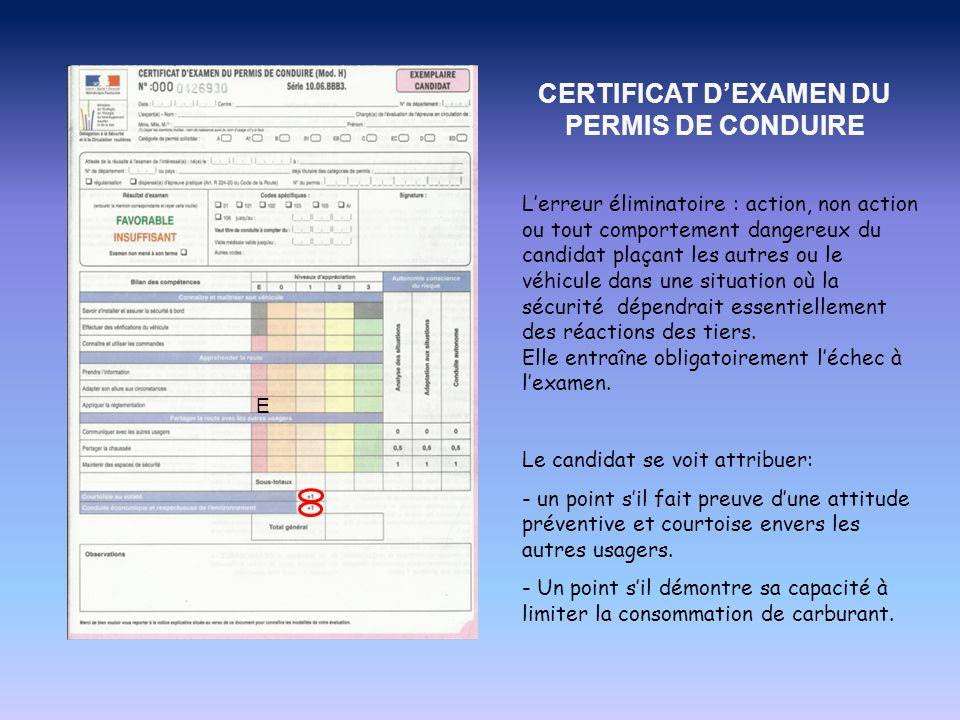 A l'issue de ce parcours, l'inspecteur remplit la grille d'évaluation et adresse un Certificat d'Examen du Permis de Conduire (CEPC) par voie postale, sur lequel figure le résultat.
