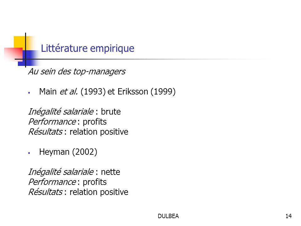 DULBEA14 Littérature empirique Au sein des top-managers  Main et al.