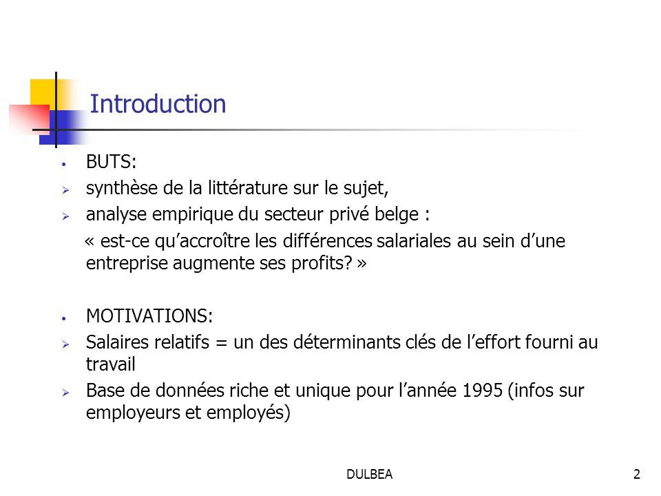 DULBEA2 Introduction BUTS:  synthèse de la littérature sur le sujet,  analyse empirique du secteur privé belge : « est-ce qu'accroître les différences salariales au sein d'une entreprise augmente ses profits.