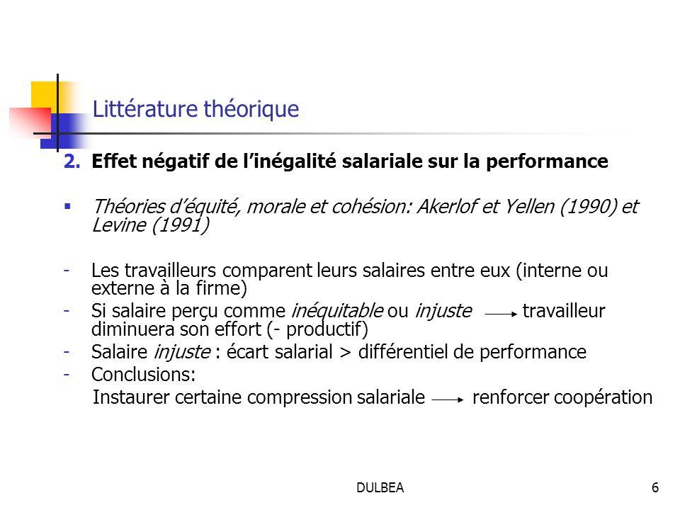 DULBEA6 Littérature théorique 2.Effet négatif de l'inégalité salariale sur la performance  Théories d'équité, morale et cohésion: Akerlof et Yellen (1990) et Levine (1991) -Les travailleurs comparent leurs salaires entre eux (interne ou externe à la firme) -Si salaire perçu comme inéquitable ou injuste travailleur diminuera son effort (- productif) -Salaire injuste : écart salarial > différentiel de performance -Conclusions: Instaurer certaine compression salariale renforcer coopération
