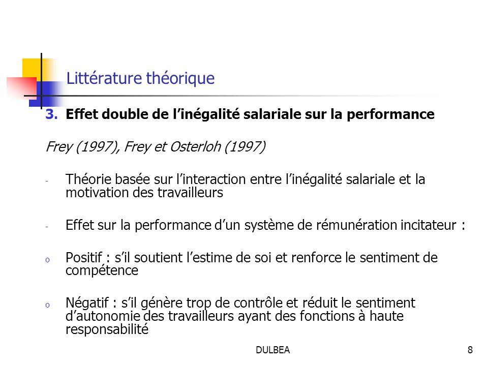 DULBEA8 Littérature théorique 3.Effet double de l'inégalité salariale sur la performance Frey (1997), Frey et Osterloh (1997) - Théorie basée sur l'interaction entre l'inégalité salariale et la motivation des travailleurs - Effet sur la performance d'un système de rémunération incitateur : o Positif : s'il soutient l'estime de soi et renforce le sentiment de compétence o Négatif : s'il génère trop de contrôle et réduit le sentiment d'autonomie des travailleurs ayant des fonctions à haute responsabilité
