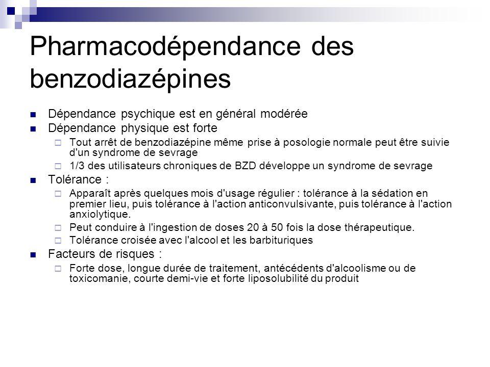 Pharmacodépendance des benzodiazépines Dépendance psychique est en général modérée Dépendance physique est forte  Tout arrêt de benzodiazépine même p