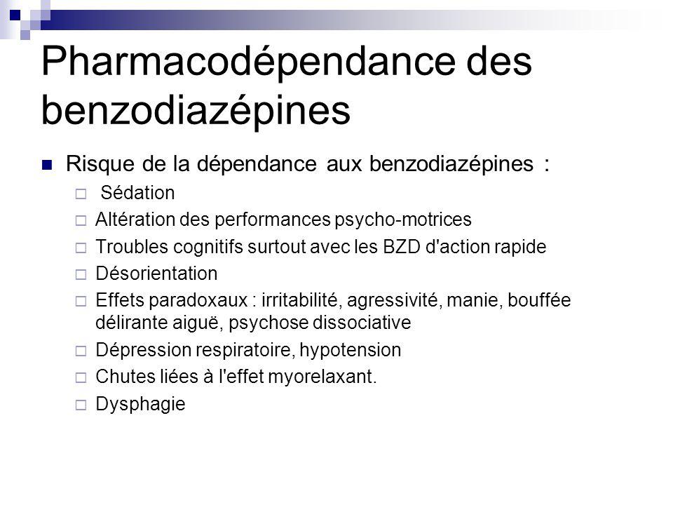 Pharmacodépendance des benzodiazépines Risque de la dépendance aux benzodiazépines :  Sédation  Altération des performances psycho-motrices  Troubl