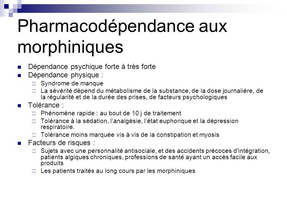 Pharmacodépendance aux morphiniques Dépendance psychique forte à très forte Dépendance physique :  Syndrome de manque  La sévérité dépend du métabol