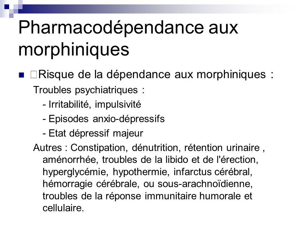 Pharmacodépendance aux morphiniques Risque de la dépendance aux morphiniques : Troubles psychiatriques : - Irritabilité, impulsivité - Episodes anxio-