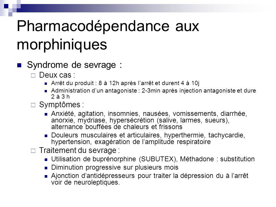 Pharmacodépendance aux morphiniques Syndrome de sevrage :  Deux cas : Arrêt du produit : 8 à 12h après l'arrêt et durent 4 à 10j Administration d'un