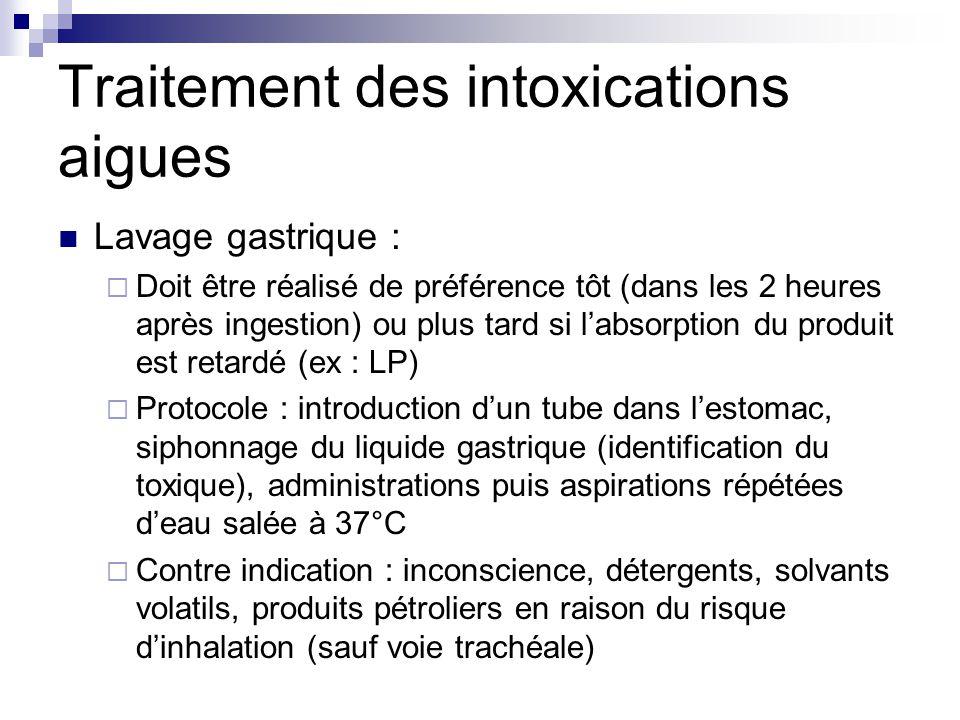 Traitement des intoxications aigues Lavage gastrique :  Doit être réalisé de préférence tôt (dans les 2 heures après ingestion) ou plus tard si l'abs
