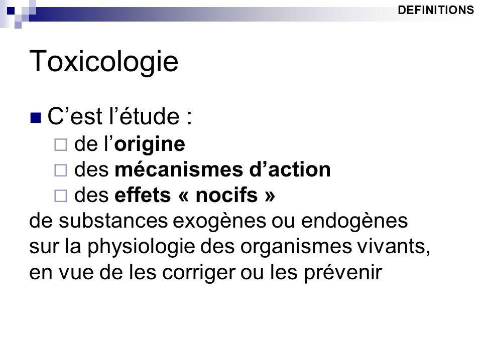 Toxicologie C'est l'étude :  de l'origine  des mécanismes d'action  des effets « nocifs » de substances exogènes ou endogènes sur la physiologie de
