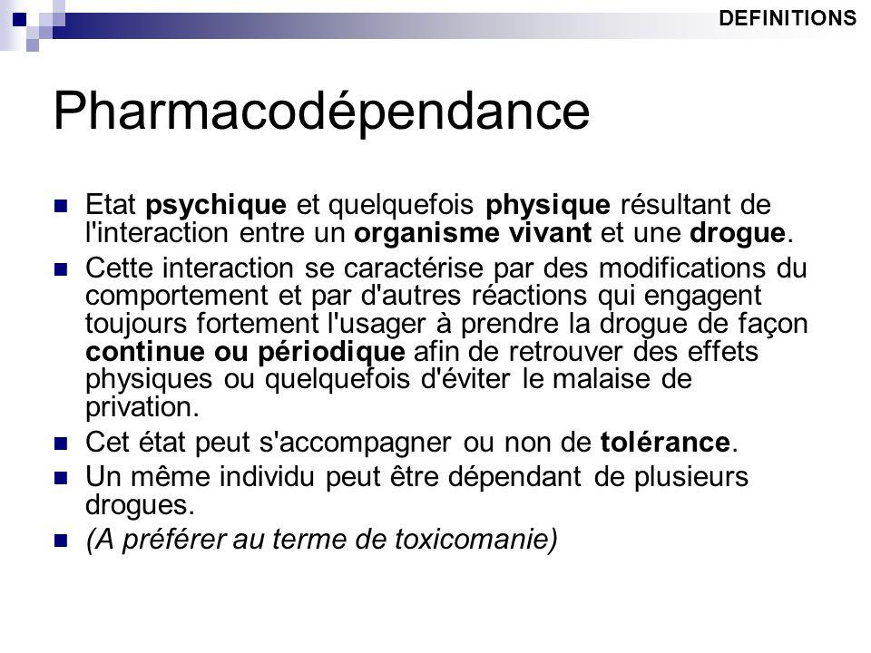 Pharmacodépendance Etat psychique et quelquefois physique résultant de l'interaction entre un organisme vivant et une drogue. Cette interaction se car