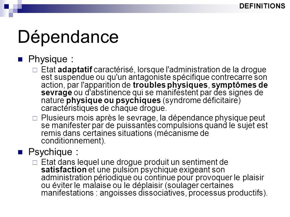 Dépendance Physique :  Etat adaptatif caractérisé, lorsque l'administration de la drogue est suspendue ou qu'un antagoniste spécifique contrecarre so