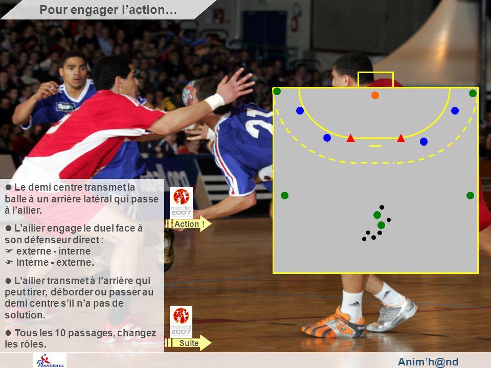Anim'h@nd Le demi centre transmet la balle à un arrière latéral qui passe à l'ailier.