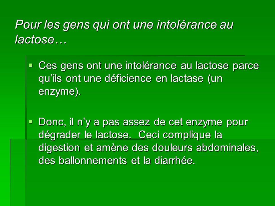 Pour les gens qui ont une intolérance au lactose…  Ces gens ont une intolérance au lactose parce qu'ils ont une déficience en lactase (un enzyme).