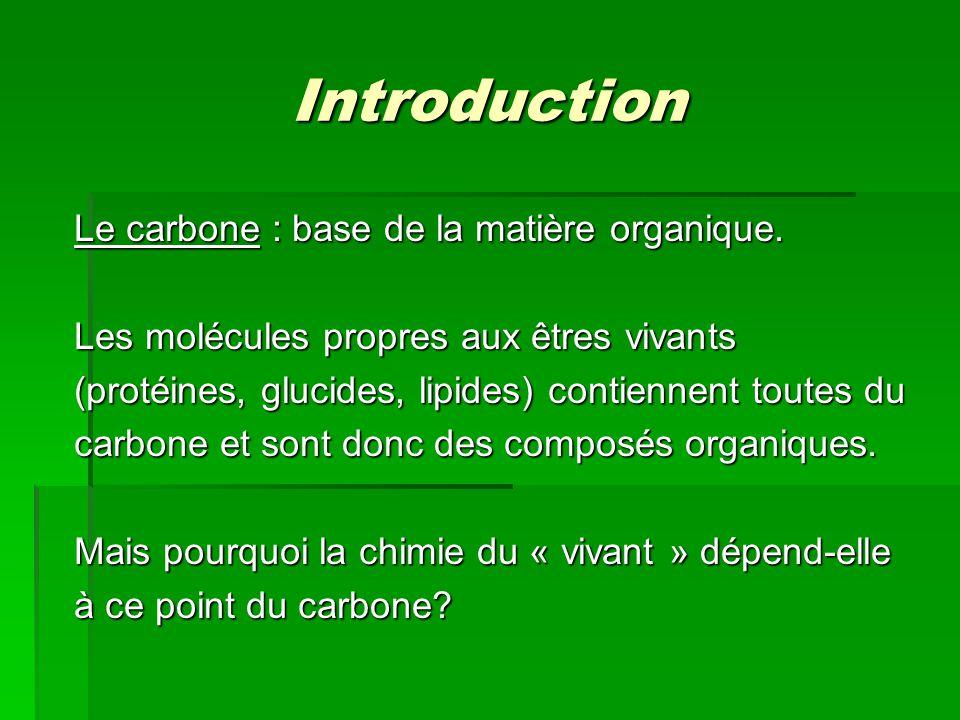 Introduction Le carbone : base de la matière organique. Les molécules propres aux êtres vivants (protéines, glucides, lipides) contiennent toutes du c