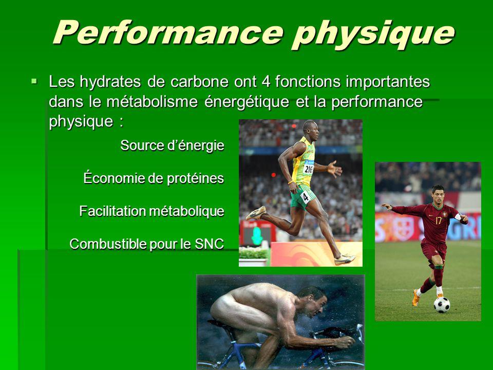 Performance physique  Les hydrates de carbone ont 4 fonctions importantes dans le métabolisme énergétique et la performance physique : Source d'énergie Économie de protéines Facilitation métabolique Combustible pour le SNC
