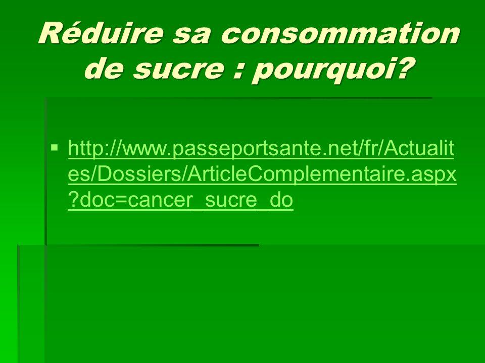 Réduire sa consommation de sucre : pourquoi?   http://www.passeportsante.net/fr/Actualit es/Dossiers/ArticleComplementaire.aspx ?doc=cancer_sucre_do