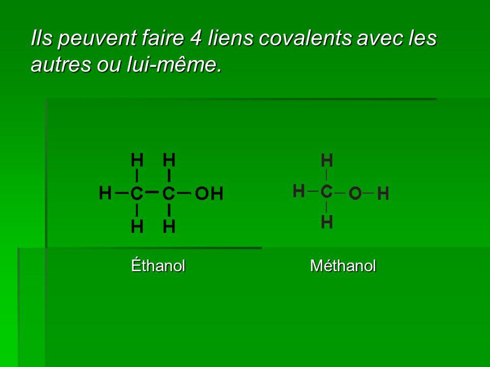 Ils peuvent faire 4 liens covalents avec les autres ou lui-même. ÉthanolMéthanol