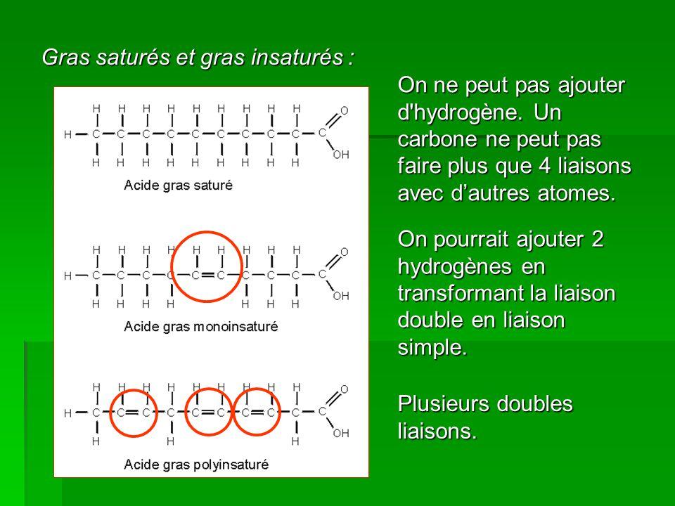 Gras saturés et gras insaturés : On ne peut pas ajouter d'hydrogène. Un carbone ne peut pas faire plus que 4 liaisons avec d'autres atomes. On pourrai