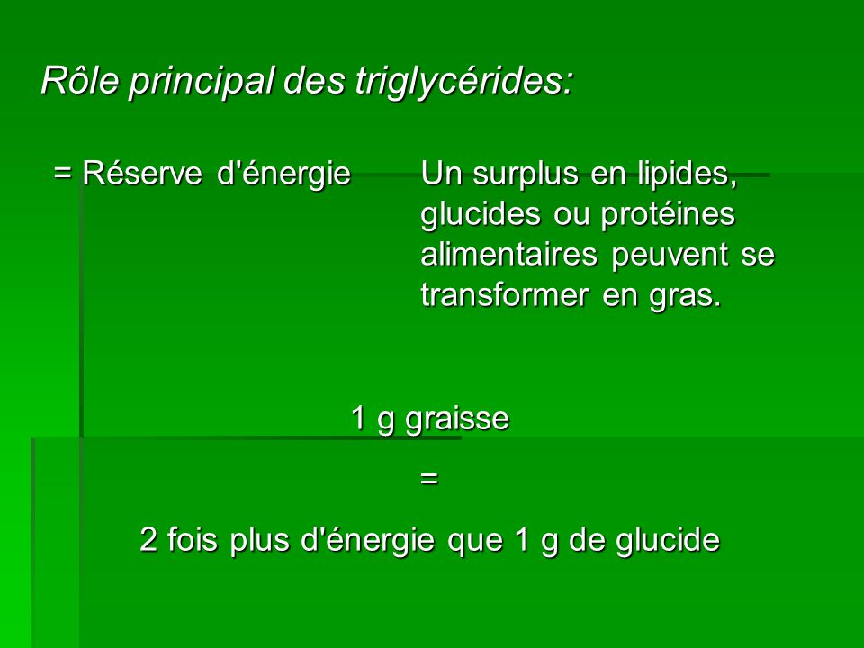 Rôle principal des triglycérides: = Réserve d énergie 1 g graisse = 2 fois plus d énergie que 1 g de glucide Un surplus en lipides, glucides ou protéines alimentaires peuvent se transformer en gras.