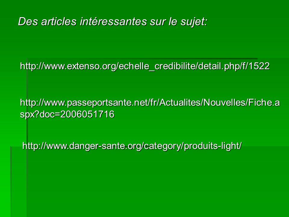 http://www.passeportsante.net/fr/Actualites/Nouvelles/Fiche.a spx?doc=2006051716 http://www.danger-sante.org/category/produits-light/ http://www.extenso.org/echelle_credibilite/detail.php/f/1522 Des articles intéressantes sur le sujet: