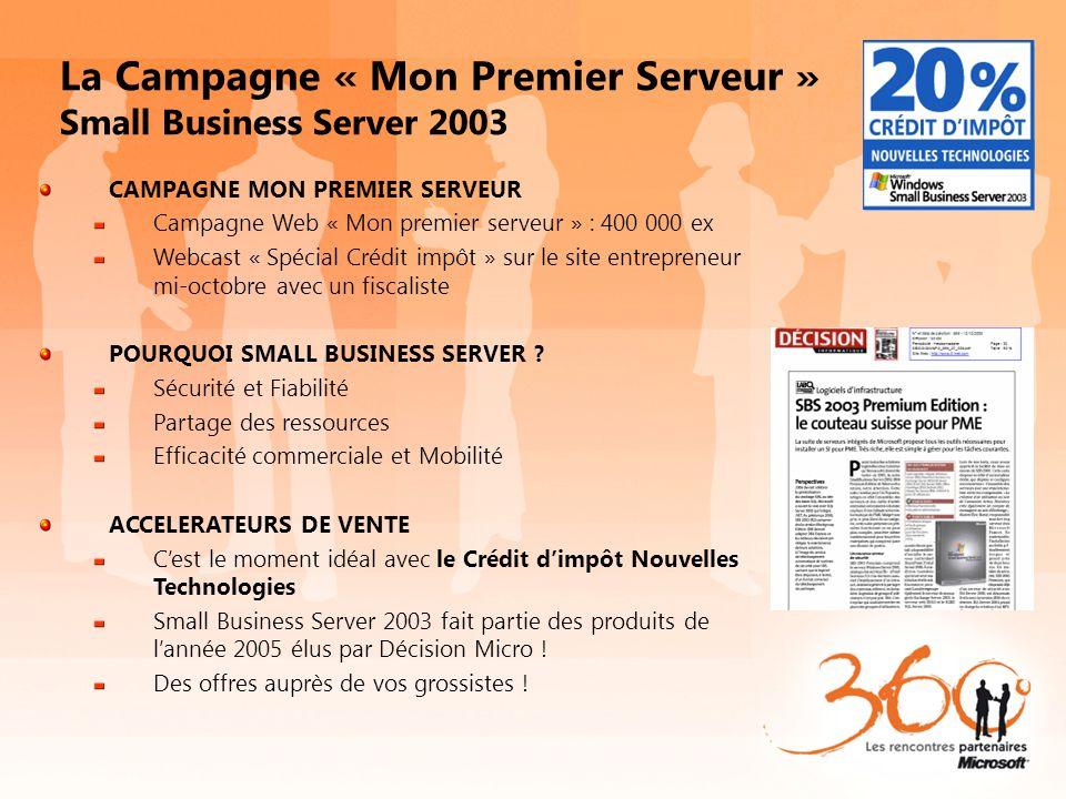 La Campagne « Mon Premier Serveur » Small Business Server 2003 CAMPAGNE MON PREMIER SERVEUR Campagne Web « Mon premier serveur » : 400 000 ex Webcast