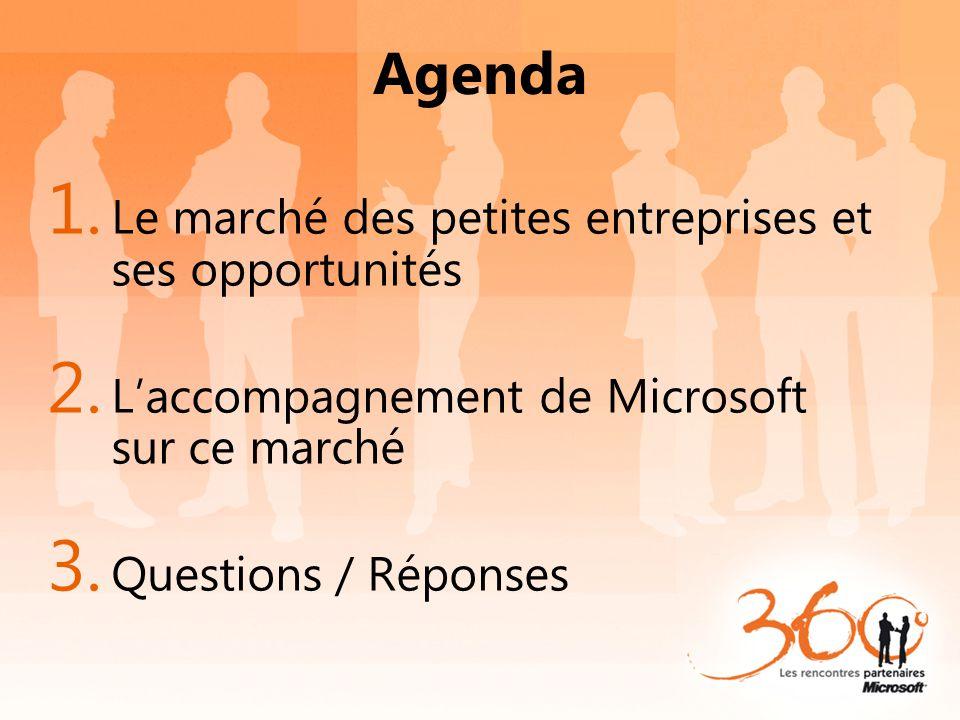 Agenda 1. Le marché des petites entreprises et ses opportunités 2. L'accompagnement de Microsoft sur ce marché 3. Questions / Réponses