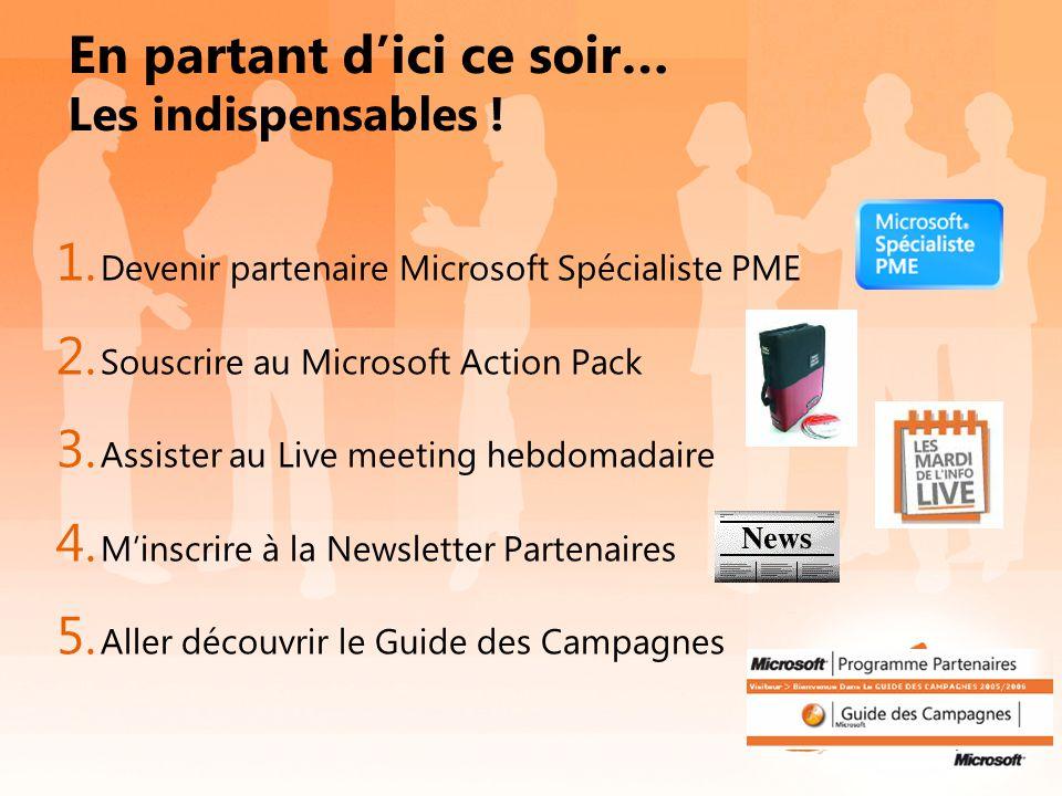 En partant d'ici ce soir… Les indispensables ! 1. Devenir partenaire Microsoft Spécialiste PME 2. Souscrire au Microsoft Action Pack 3. Assister au Li