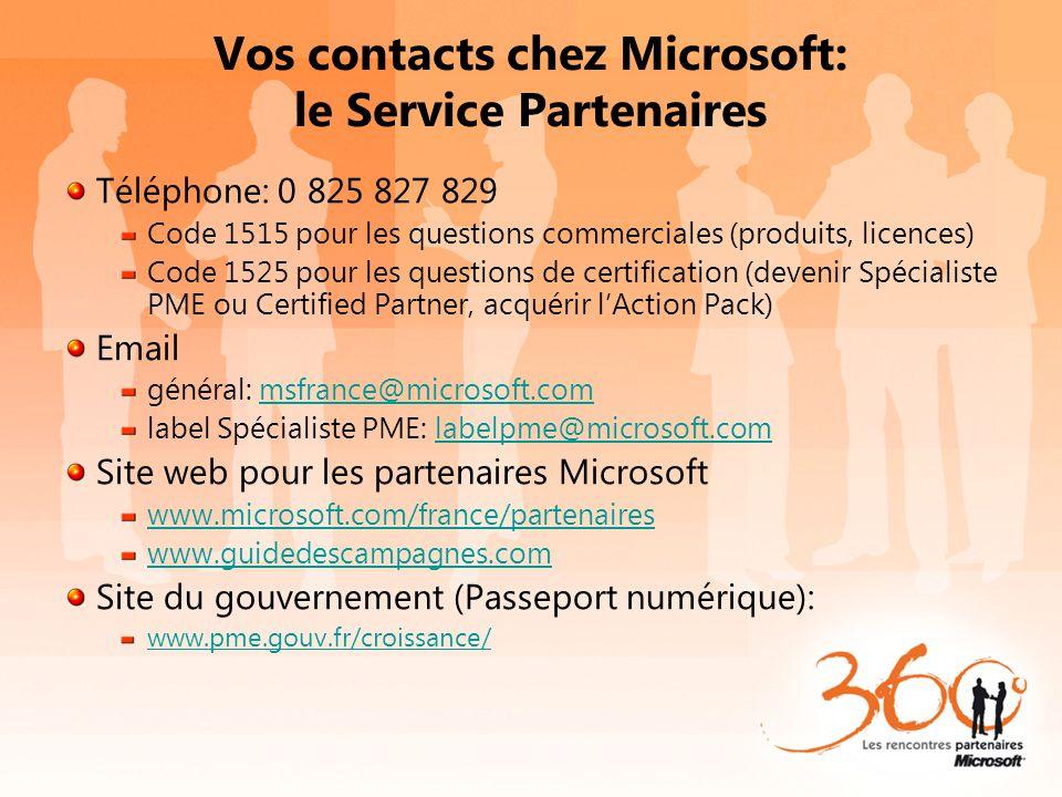 Vos contacts chez Microsoft: le Service Partenaires Téléphone: 0 825 827 829 Code 1515 pour les questions commerciales (produits, licences) Code 1525