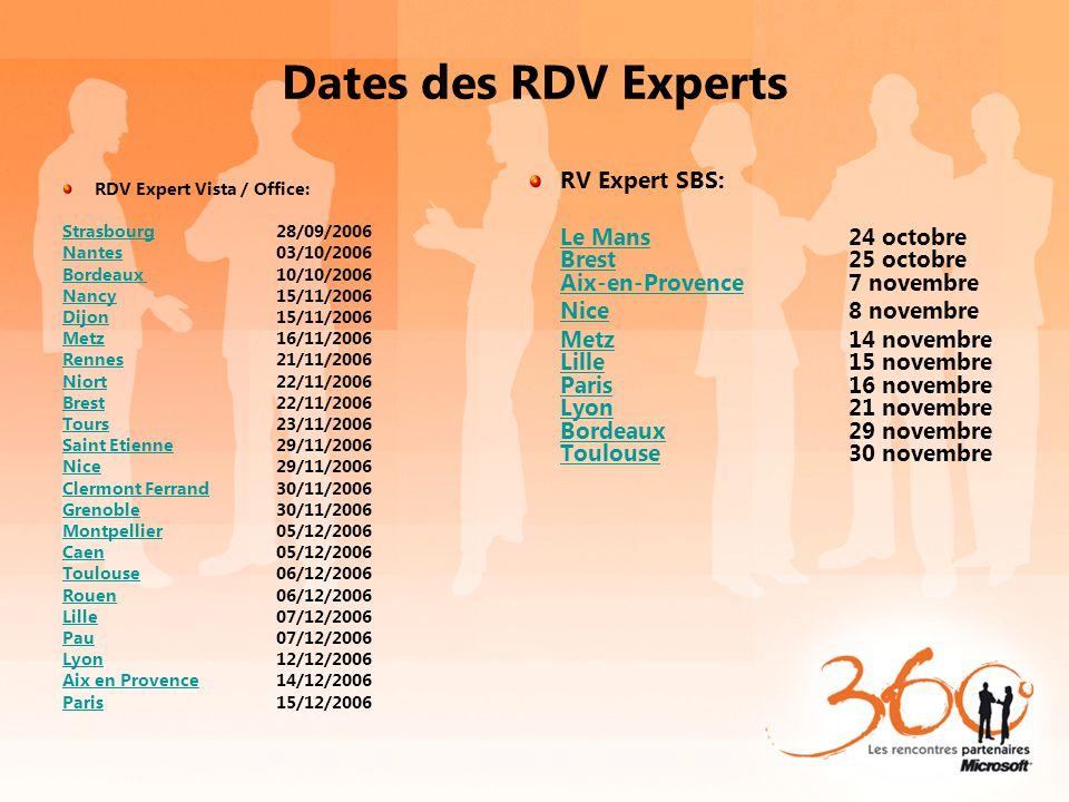 Dates des RDV Experts RV Expert SBS: Le MansLe Mans24 octobre Brest25 octobre Aix-en-Provence7 novembre Brest Aix-en-Provence NiceNice8 novembre MetzM